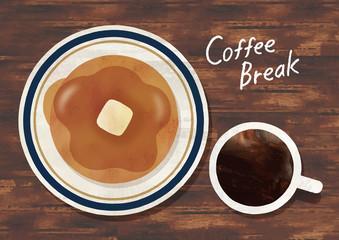 パンケーキとコーヒー水彩