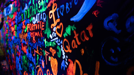 Doha,Qatar- 01 January 2019 : Background image of words painted on UV paintings