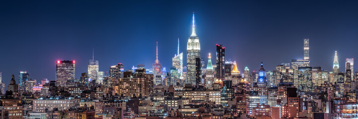 New York City skyline at night Fotobehang