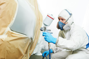 car painting in chamber. automobile repair service Wall mural