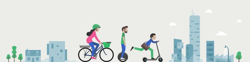 Trottinette, gyropode, vélo électrique, mono-roue