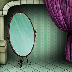 Fantasy, fairy tale, vintage background in  room with  curtain and  mirror.