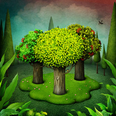 Fantasy fairy tale illustration about Three trees growing in  meadow in  deep forest.