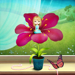 Fantasy Tale illustration about  little girl who lived in  flower