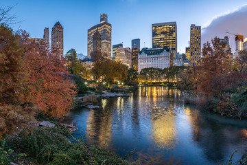 Central Park in New York at dusk