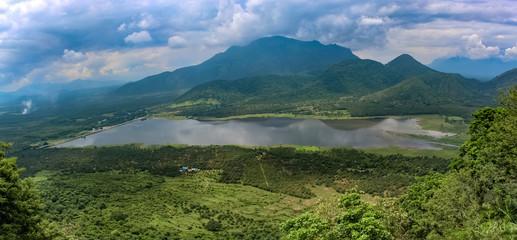Photo sur Aluminium Bleu jean landscape with mountains and clouds