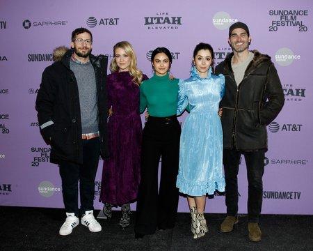 Andy Samberg, Meredith Hagner, Camila Mendes, Tyler Hoechlin at arrivals for PALM SPRINGS Premiere at Sundance Film Festival 2020