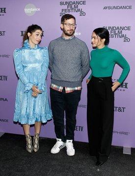 Andy Samberg, Cristin Milioti, Camila Mendes at arrivals for PALM SPRINGS Premiere at Sundance Film Festival 2020