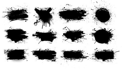 Paint brush stains, ink splashes, strokes and blots of different shapes for frame, banner, label, text box, clipping masks or other art design. Vector grunge texture isolated  on white background.