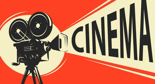 Movie camera retro. Cinema, movie poster vector