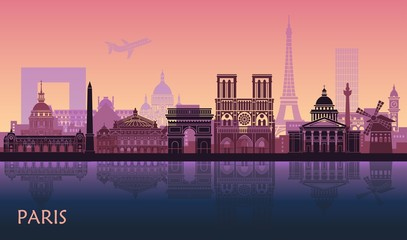 Stores à enrouleur Saumon Stylized landscape of Paris with Eiffel tower, arc de Triomphe and Notre Dame Cathedral and other attractions