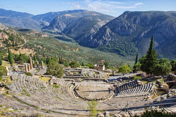 Ruins of the ancient theatre and Temple of Apollo at Delphi, Greece