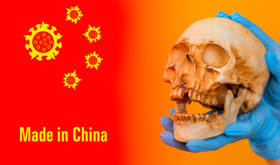 The deadly coronavirus is spreading from China to other countries.The stars on the Chinese flag have been replaced with coronavirus molecules. 2019-nCoV. The inscription is Made in China and the skull