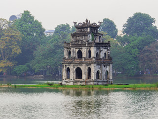 View of the Tourist Tower in the Hoan Kiem Lake in Hanoi, Vietnam Wall mural