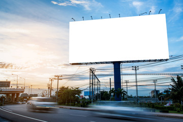 Obraz billboard blank for outdoor advertising poster or blank billboard for advertisement. - fototapety do salonu