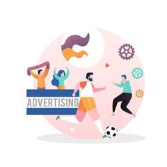 In de dag Hoogte schaal Football championship vector concept for web banner, website page