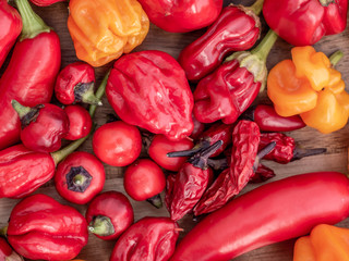 Canvas Prints Hot chili peppers Colorful mix of chili peppers on wodden board. Close up