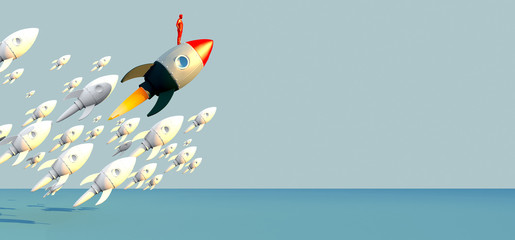 3D illustration business metaphor Progress and innovation technology with red rocket launch business successful Leadership motivation concept.