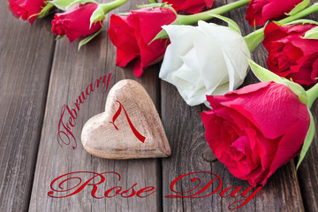 Wooden Heart and Rose Day February 7