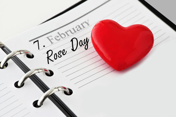 Calendar with heart and Rose Day