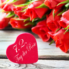 Red heart and German: Rose Day February 7