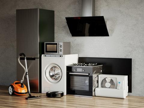 Home appliances. 3d rendering illustration