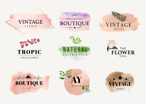 set of vintage label and watercolor label hand drawn brush. Stain drop color logo design.