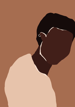 Abstract modern young brutal african american black man portrait silhouette. Fashion minimal trendy people face in paper cut mosaic flat style. Trendy art poster print. Vector hand drawn illustration