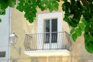 Green Lush Leaves On Background Blurred Balcony And Lantern