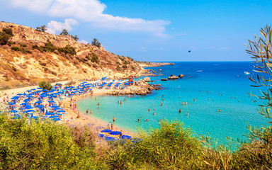 Garden Poster Cyprus Konnos Beach of Cyprus island. Cape Greko natural park.