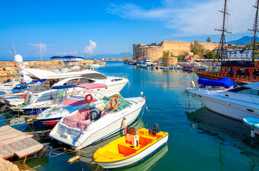 Photo sur Aluminium Chypre Kyrenia (Girne) old harbour on the northern coast of Cyprus.