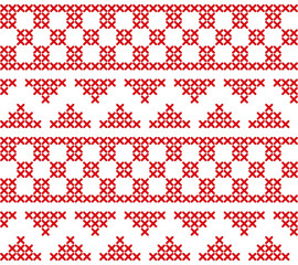 embroidery red cross stitch background with triangles and squares
