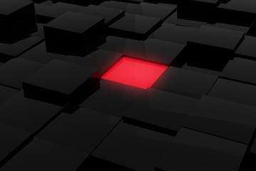 Black modern shiny abstract geometrical cube array pattern background with red glowing center cube, idea, focus or leadership concept