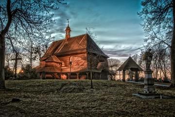 Fototapeta drewniany kościół św. Anny w Czarnowąsach obraz