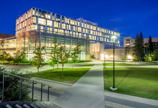 The Taylor Family Digital Library at the University of Calgary on September 19, 2014 in Calgary, Alberta. The Taylor Family Digital Library is a high tech library complex.