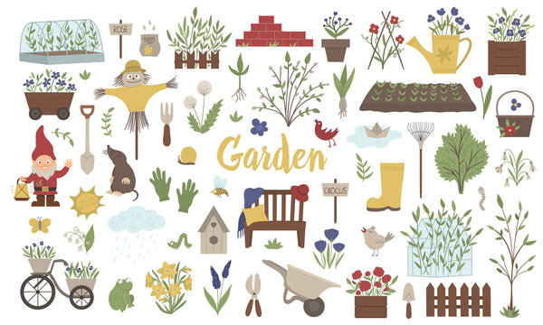Vector big set of colored garden things, tools, flowers, herbs, plants. Collection of gardening equipment. Flat spring illustration isolated on white background. .