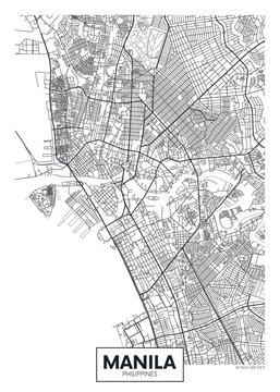 City map Manila, travel vector poster design