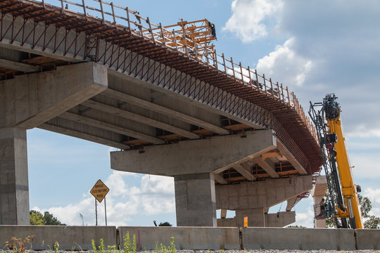 Curved Section Of Bridge Overpass Under Construction In Atlanta Area