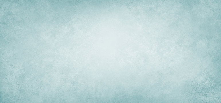 Old light blue paper background illustration with soft blurred texture on borders in pastel pale blue green color with blank white center, plain simple elegant vintage background