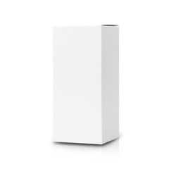 White box product tall shape packaging in front view isolated on white background with clipping path.