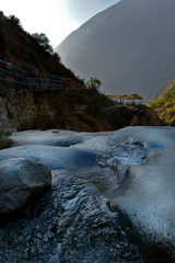Beautiful sunset view from the Huanano River in the San Jeronimo de Surco district. Lima-Peru