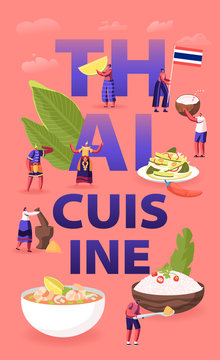 Thai Cuisine Concept. Tiny Male Female Characters Tourists and Native Dwellers Eating and Cooking Traditional Thailand Meals, Asian Food Poster Banner Flyer Brochure. Cartoon Flat Vector Illustration
