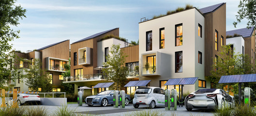 Modern apartment buildings and electric cars