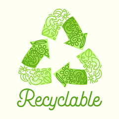 Recyclable Package Concept. Recycle Symbol Three Green Circulate Arrows with Doodle Drawings. Garbage Transformation Process Logo for Poster Banner Flyer Brochure. Cartoon Flat Vector Illustration