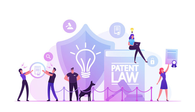 Patent Law Concept. People Protecting their Rights for Authorship and Creation of Different Mental Products. Safeguard with Dog Stand near Huge Shield with Lamp Icon Cartoon Flat Vector Illustration