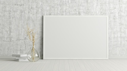 Blank horizontal poster frame mock up standing on white floor next to concrete wall with vase and books. Clipping path around poster. 3d illustration Wall mural
