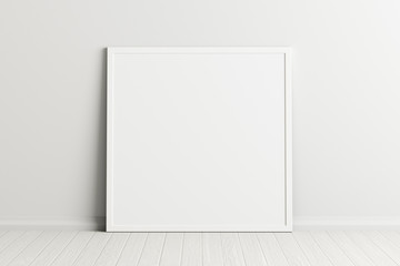 Blank square poster frame mock up standing on white floor next to white wall. Clipping path around poster. 3d illustration Fotomurales