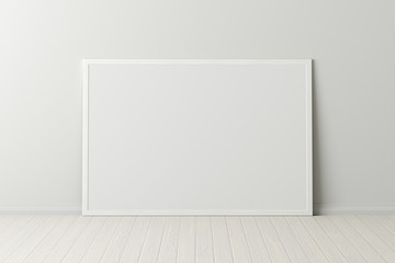 Blank horizontal poster frame mock up standing on white floor next to white wall. Clipping path around poster. 3d illustration Fotomurales