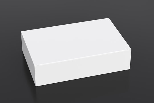 Blank white wide flat box with closed hinged flap lid on black background. Clipping path around box mock up. 3d illustration