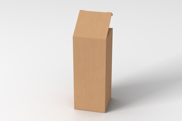 Blank cardboard tall and slim gift box with opened hinged flap lid on white background. Clipping path around box mock up. 3d illustration Fotobehang